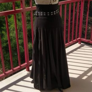 Black Cotton Maxi Skirt